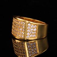 al por mayor chapado en oro amarillo anillo de matrimonio-Circón anillo completo de lujo para hombres de la joyería 18K de alianzas de boda de moda al por mayor del oro amarillo de los anillos plateados oro de los hombres de la manera R433