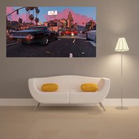auto video games - Grand Theft Auto V Poster Boy Room Decoration Wallpaper Art Video Game GTA Waterproof Back Glue Paper Wall Sticker WYX258