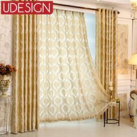Wholesale 1pc Hooks Top Tulle Classic Golden Tulle Curtains for Living Room European Window Sheer d Curtains for Bedroom