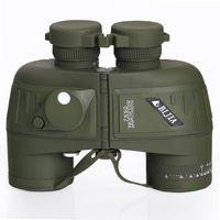 BIJIA 7x Hd portátil de navegación binoculares impermeables 7x50 ejército de visión nocturna militar telescopio con compás de medición de la distancia