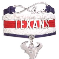 agate bangle - Custom Infinity Love State texans Football Team Bracelet texans Sport Team Wrap Braided Leather Adjustable Bracelet Bangles Drop Shipping