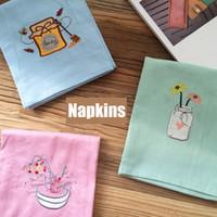 Wholesale 3pcs Cotton Cloth Napkins Embroidered x65cm Home Restaurant Cafe Table Napkin serviette de table kitchen tea towels