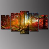 Wholesale Panel Forest Painting Canvas Wall Art Picture Home Decoration Living Room Canvas Print Modern Painting Large Canvas Art