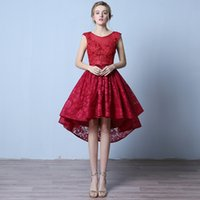 Wholesale 2016 red Cheap homecoming dresses lace applique scoop neck sleeveless high low a line homecoming dressed