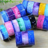 Wholesale 2016 HOT Glitter Moon Star Washi Sticky Paper Masking Adhesive Tape Label DIY Decor