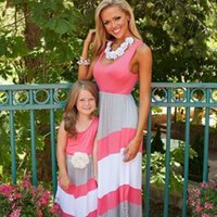 Wholesale 2016 family matching mother daughter dresses clothes striped mom and daughter dress kids parent child outfits DH004