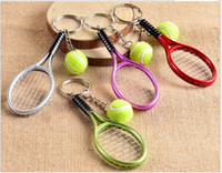 Wholesale Valentine s Day Birthday Christmas Wedding Exhibition Gifts Fashion Mini Metal Golf Tennis Racket Keychains Car Mobile Bag Pendants Keychain