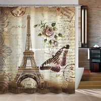 Wholesale DHL free ship Paris Eiffel Tower printed curtains shower curtains cm polyester waterproof thickening bathroom holtel shower curtains