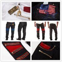 Wholesale New same balmain mens jeans for men gold metal wing gold zipper elastic robins mens pants plus size black white color