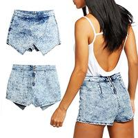 acid washed skirt - 2015 Women s Europe And America Brand Fashion Ladies New Denim Skorts Shorts Skirts Acid Wash Jeans Denim Faded Hot Shorts