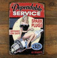 automotive repair signs - Vintage Dependable Service Metal Tin Sign Plaque Garage Automotive Repair Wall Decor Art Poster x12 inch