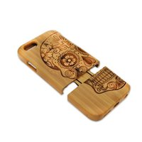 bamboo dirt - Hot All Bamboo Wooden Customize Engraving Design Case Shell Back Case For Iphone s s plus With Retail Package