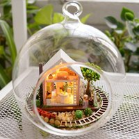Wholesale DIY Wooden Pandora Magic Garden D Miniature Toy Doll House Voice Control LED Light Crystal Glass Ball Kids Educational Toy