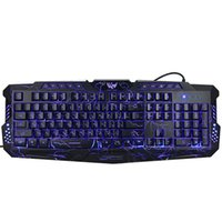 Precio de Teclado de juegos retroiluminación azul-Versión rusa Rojo / Púrpura / Azul Retroiluminación LED Pro Gaming Teclado M200 USB con conexión por cable Powered N-Key completo para LOL Periféricos de Ordenador