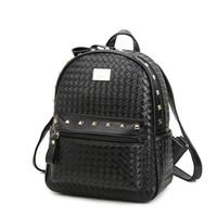 Wholesale 2016 Fashion Rivet Leather women backpack designer backpacks high quality school bag for teenagers girls travel mochila feminina