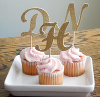baptism party food - personalized Initial Glitter Cupcake Toppers Baptism baby shower wedding birthday decorations food picks party supplies