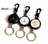 Wholesale High Strength Steel Wire Pull Keyring Tag Card Holder Recoil Belt Metal Badge Retractable Reel ID Card Holder
