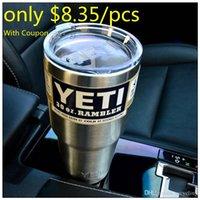 Wholesale Coupon YETI oz Cups Cooler YETI Rambler Tumbler For Travel Vehicle Beer YETI Mug Tumblerful Bilayer Vacuum Insulated Stainless Steel