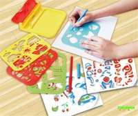 Wholesale 4pcs set Kids Drawing Stencil Set Cartoon Fruit Animal Transport Sketch Board Children s Preschool Education Toys