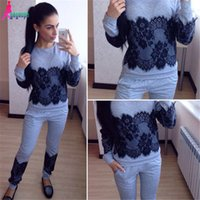 Cheap Gagaopt 2016 Autumn Sexy Tracksuits For Women Long sleeve Lace Patchwork 2 Piece Set Women's Pants+Top Sports Suits Women