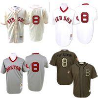 al por mayor retroceso red sox-GRIS blanco Crema 1967 Carrera Carl Yastrzemski Jersey auténtica, # 8 de los hombres Mitchell y Ness Boston Red Sox