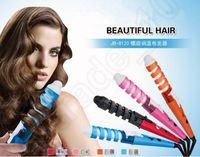 Wholesale 240PCS Colorful Pro Roller Spiral Curling Iron Wand Electric Magic Hair Styling Tool Hair Curler Ceramic US EU Plug JJA27