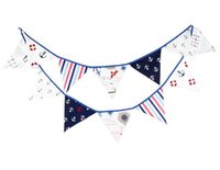 baby shower party themes - 12 Flags m Pirate Theme Cotton Fabric Bunting Pennant Flags Banner Garland Wedding Birthday Baby Shower Party Decoration