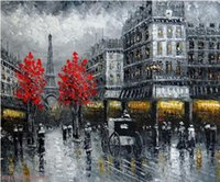 art oil painting paris - 1890s Paris Eiffel Tower Street Stores Shoppers Pure Hand Painted Art Oil Painting Canvas any customized size accepted John