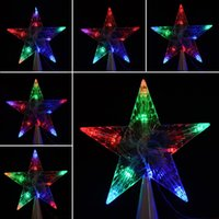 Wholesale 220V Indoor Outdoor Colorful Changing New Year Xmas Christmas Tree Topper Star Light LED Lamp Decoration Home Gift EU Plug