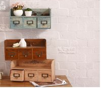 Wholesale Zakka Drawers cm Vintage Multicolor Wooden Sundries Cosmetic Medicine Storage Drawers Organizer Box Case Bins Cabinets