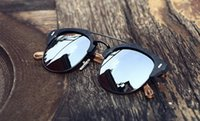 Wholesale Brand New Women Mens Polarized Sunglasses Circle Round Lens UV400 Protection Vintage Wood Grain Plank Frame Brand Desinger With Box
