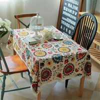 Wholesale Vintage Lace Sun Flower Tablecloth Linen Embroidered Rectangle Washable Dinner Picnic Table Cloth cm