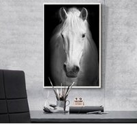 Wholesale modern art animals canvas painting modern home art giant black and white pictures poster Horse black bedroom recommendation