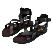 Wholesale New Trendy Summer Men Ankle Strap Buckle Strap Beach Shoes Roman Gladiator Cross tied Leather Sandals
