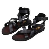 al por mayor lazo del tobillo-Nuevos hombres de verano de moda tobillo Strap hebilla Strap zapatos de playa Roman Gladiator Cross-atados cuero sandalias