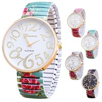 antique platinum watch - 2016 Fashion Watches Women Antique Roses Stretchable Watch Flower Geneva Watch Women Quartz Watches Relogio Feminino Gifts DHL