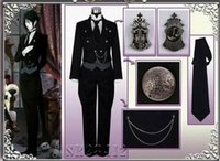 Wholesale Japanese Cartoon Anime Black Butler Kuroshitsuji Sebastian Michaelis Cosplay Tailcoat vest shirt pants gloves badge chain