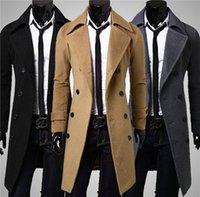 Wholesale Four Seasons Mens Jacket Slim Long double breasted wool coat lapel coat male fashion