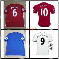 Wholesale Top best Quality Ibrahimovic POGBA Jerseys red blue white Ibrahimovic POGBA ROONEY jerseys shirt