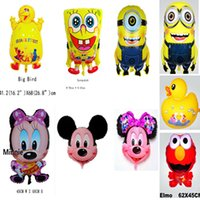 animal elmo - Cute animal big bird elmo cartoon despicable Me Minions aluminum foil helium balloons automatic sealed Birthday Party amusement Decoration