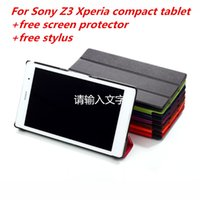 Wholesale For sony z3 compact case Magnetic Smart PU leather Case For Sony Xperia Z3 Compact tablet cover case screen protectors stylus