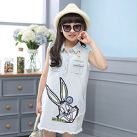 american girl dress patterns free - summer sleeveless girl cowboy dresses one piece dress garment children Girls skirt casual clothing rabbit cartoon pattern