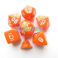 Wholesale 7pcs set DND Table BOARD GAME Dungeons Dragons number D4 D6 D8 D10 D12 D20 dice orange Child Party Solid Colour dices IVU