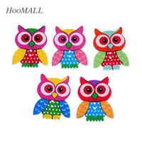 Wholesale Hoomall Brand Holes Wooden Buttons Sewing Scrapbooking Owl Pattern x2 cm Random Mixed