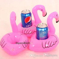 Wholesale Mini Cute fanny toys Red Flamingo Floating Inflatable Drink Can Holder Pool Bath Toy hot