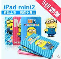 Wholesale DHL D Cartoon Despicable Me Yellow Minion Flip Stand PU Leather Case Smart Cover For Ipad Mini