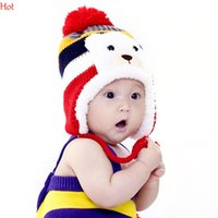 baby bear hat crochet pattern - Colorful Striped Pattern Hats Cartoon Bear Design Thicken Crochet Caps Kids Winter Caps Baby Warm Winter Ear Cap Hats Photograph Prop