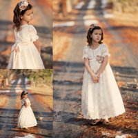 Wholesale 2016 Cheap Full Lace Flower Girls Dresses Short Sleeves tutu Ritzee Long Girl Pageant Gowns Full Length Teens Kids Vintage Communion Dress