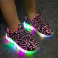 Cheap 2016 SIZE 1-13 Kids Sneakers Fashion USB Charging Lighted 7 Colorful LED lights Children Shoes Casual Flat Girls Boy Shoes