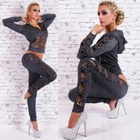 Wholesale Autumn Leopard Velour Tracksuits Women Track Suit Sport suits Leopard jogger suits Black Gray Color